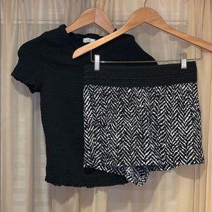 Pants - Stretch Black & White Short Sleeve and Shorts Set